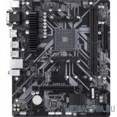 Материнская плата Gigabyte GA-B450M S2H RTL  Socket AM4, AMD B450, 2xDDR4-2933, D-SUB+DVI-D+HDMI, 1xPCI-Ex16, 2xPCI-Ex1, 4xSATA3(RAID 0/1/10), 1xM.2, 8 Ch Au