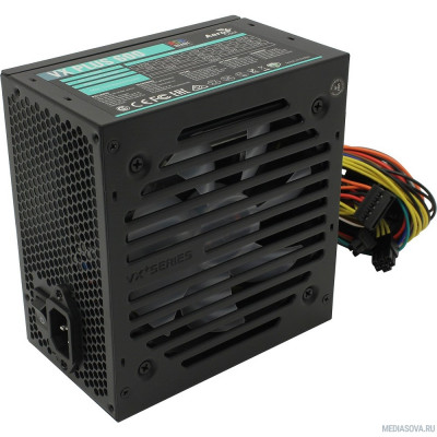 Блок питания Aerocool 600W VX-600 RGB PLUS (ATX 2.3, 600W, 120mm fan, RGB-подсветка вентилятора)