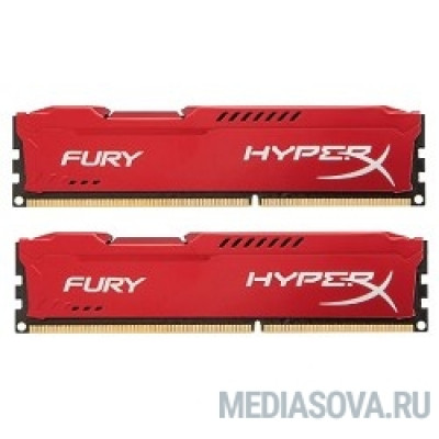 Оперативная память Kingston DDR3 DIMM 8GB (PC3-12800) 1600MHz Kit (2 x 4GB)  HX316C10FRK2/8 HyperX Fury Series CL10 Red