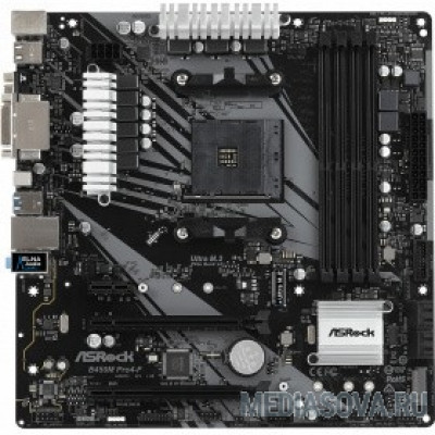 Материнская плата ASROCK B450M PRO4-F RTL AMD B450, 2xPCI-E, Dsub+DVI+HDMI, GbLAN SATA MicroATX, 4DDR4