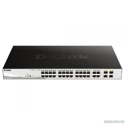 D-Link DGS-1210-28MP/FL1 PROJ Настраиваемый коммутатор WebSmart с 24 портами 10/100/1000Base-T и 4 комбо-портами 100/1000Base-T/SFP (24 порта с поддержкой PoE 802.3af/802.3at (30 Вт),PoE-бюджет 370 Вт