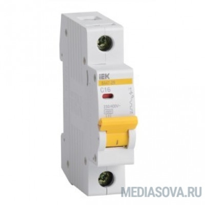 Iek MVA20-1-016-D Авт. выкл.ВА47-29 1Р 16А 4.5кА х-ка D  ИЭК
