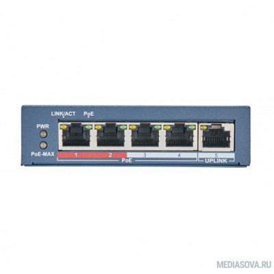 Коммутатор Hikvision DS-3E0105P-E(B) 4x100Mb 4PoE 58W неуправляемый
