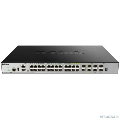 D-Link DGS-3630-28TC/A2ASI PROJ Управляемый стекируемый коммутатор 3 уровня с 20 портами 10/100/1000Base-T,4 комбо-портами 10/100/1000Base-T/SFP, 4 портами 10GBase-X SFP+ и программным обеспечением SI