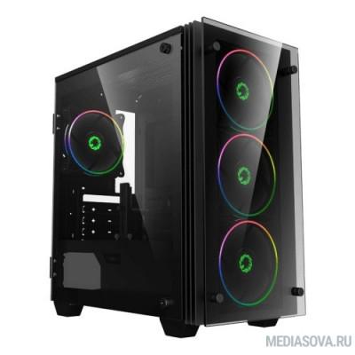 GameMax [H609 Mini Stratos] без БП (Черный, Midi Tower, ATX, зак. стекло, 3*Rainbow вент)