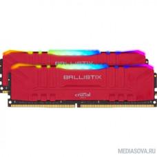 Crucial DRAM Ballistix Red RGB 2x32GB (64GB Kit) DDR4 3200MT/s  CL16  Unbuffered DIMM 288pin Red RGB, BL2K32G32C16U4RL