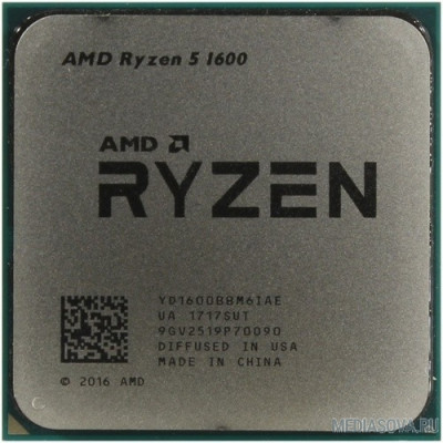 Процессор CPU AMD Ryzen 5 1600 BOX 3.2/3.6GHz Boost, 19MB, 65W, AM4 [YD1600BBAFBOX]