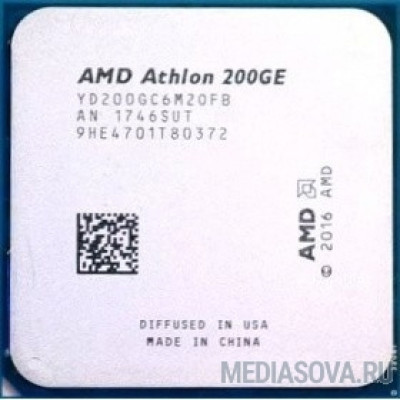 Процессор CPU AMD Athlon 200GE OEM (YD20GGC6M2OFB) 3.2 GHz/2core/1+4Mb/SVGA RADEON Vega 3/35W/Socket AM4