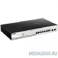 D-Link DGS-1210-10MP/FL1A Управляемый коммутатор 2 уровня с 8 портами 10/100/1000Base-T и 2 портами 1000Base-X SFP (8 портов с поддержкой PoE 802.3af/802.3at (30 Вт), PoE-бюджет 130 Вт)
