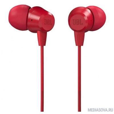 Гарнитура вкладыши JBL C50HI 1.2м красный проводные (в ушной раковине)