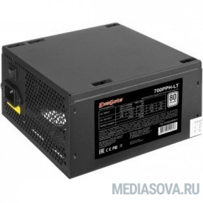Блок питания Exegate EX282048RUS-S Блок питания 700W ExeGate 700PPH-LT-S, RTL, 80+, ATX, black, APFC, 12cm, 24p, (4+4)p, 5*SATA, 3*IDE, с защитой от выдергивания
