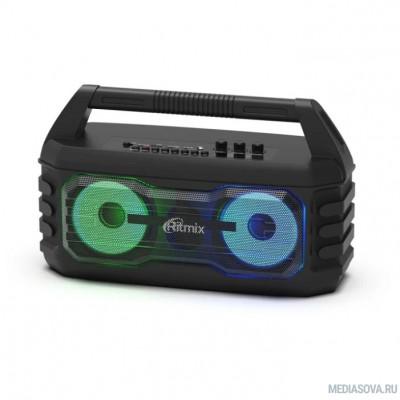 RITMIX SP-610B black AUX, USB, microSD (MP3, WAV, WMA, APE), RGB-подсветка, эквалайзер, дисплей: LED, возможность, микрофонный вход Jack 6,3 мм, 2000 мАч, microUSB DC 5В 1A, 38*23*16 см, пластик, чер