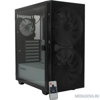 GameMax Корпус Aero А367 (ATX,Черн.,USB3.0, Зак.стекло,2*200мм RGB вент+конт.+пульт, сет.фильтр, без БП)