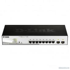 D-Link DGS-1210-10P/FL1A Управляемый коммутатор 2 уровня с 8 портами 10/100/1000Base-T и 2 портами 1000Base-X SFP (8 портов с поддержкой PoE 802.3af/802.3at (30 Вт), PoE бюджет 65 Вт)