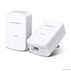 Mercusys MP500 KIT AV1000 Комплект гигабитных адаптеров Powerline, стандарт HomePlug AV2, 1 гигабитный порт, до 300 м по электросети, Plug and Play