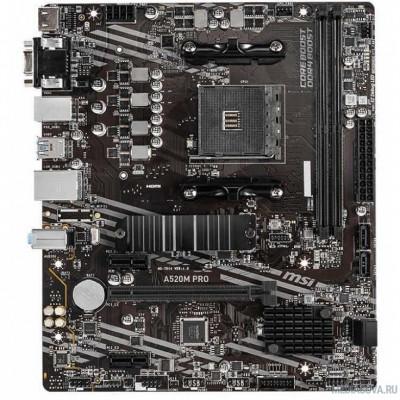 Материнская плата Материнская плата MSI A520M PRO Soc-AM4 AMD A520 2xDDR4 mATX AC`97 8ch(7.1) GbLAN RAID+VGA+HDMI+DP