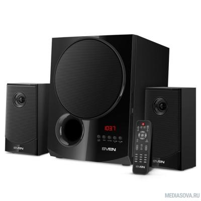 SVEN MS-2080, чёрный акустическая система 2.1, мощность (RMS):40Вт + 2x15 Вт, FM-тюнер, USB/SD, дисплей, пульт ДУ, Bluetooth