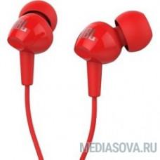 JBL C100SIURED наушники вкладыши, проводные Mini jack 3.5 mm, красный